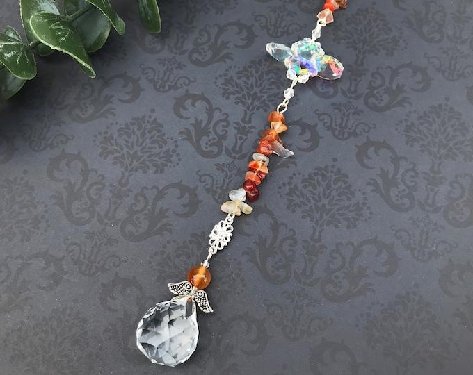 Carnelian Crystal Sun Catcher, Gemstone, Handmade
