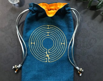 Embroidered Gold Labyrinth Drawstring Bag, Handmade, Silk Lined
