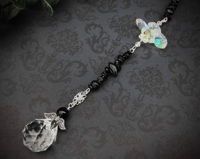 Obsidian Crystal Sun Catcher, Pendulum, Gemstone, Handmade