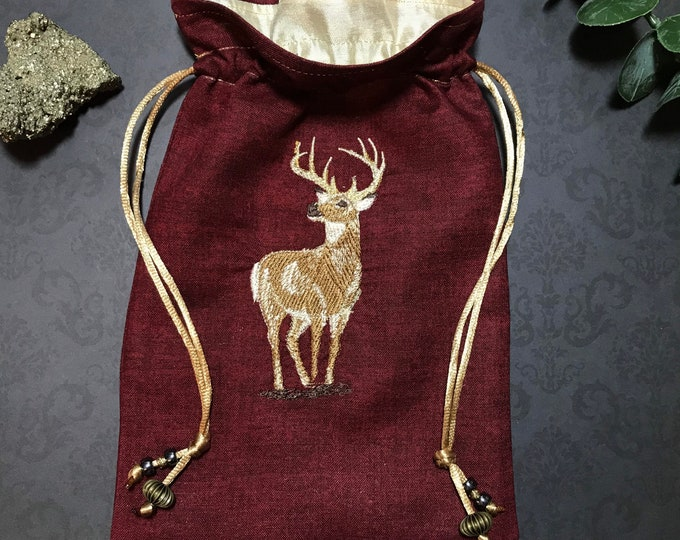Embroidered Stag Red Drawstring Bag, Handmade, Silk Lined