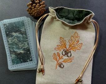 Acorn & Oak Leaf Drawstring Bag, Handmade, Silk Lined