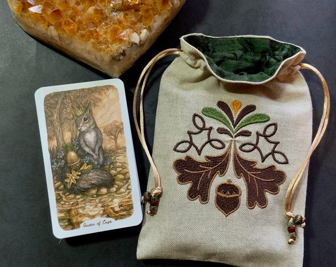 Acorn Embroidered Drawstring Bag, Handmade, Silk Lined