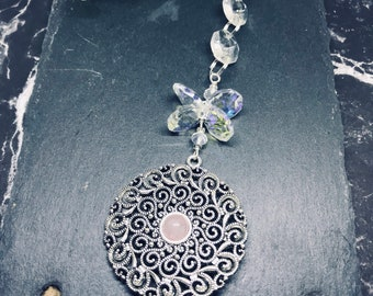 Rose Quartz Mandala Crystal Sun Catcher, Handmade