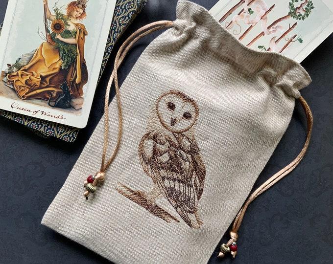 Embroidered Barn Owl Drawstring Bag, Handmade, Silk Lined