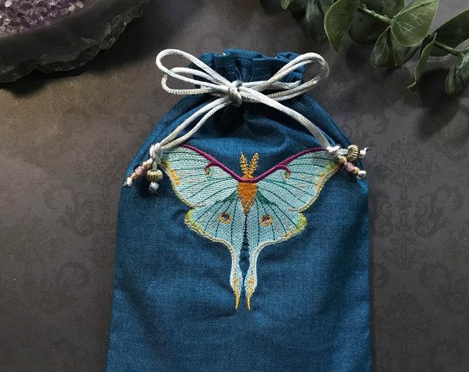 Embroidered, Luna Moth, Drawstring Bag, Handmade, Silk Lined