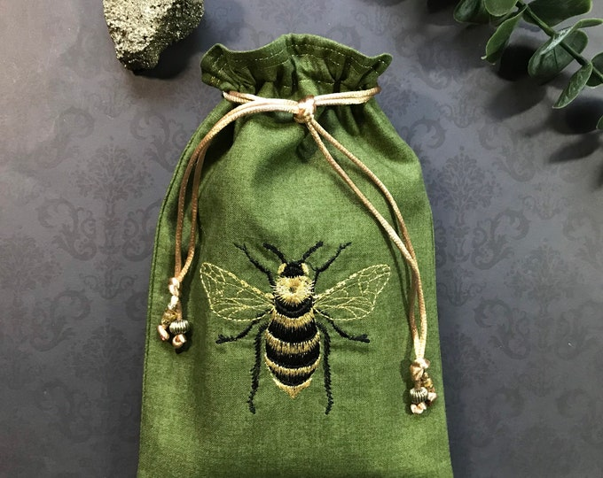 Embroidered Black and Gold, Bee Drawstring Bag, Handmade, Silk Lined