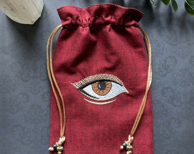 Embroidered Red & Gold Eye Drawstring Bag, Handmade, Silk Lined