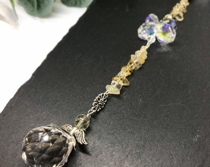 Citrine Sun Catcher, Natural Gemstones, Handmade Sun Catcher, Genuine Citrine Crystal, Citeine Hanging Mobile,