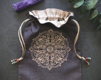 Embroidered Mandala Drawstring Bag, Handmade, Silk Lined