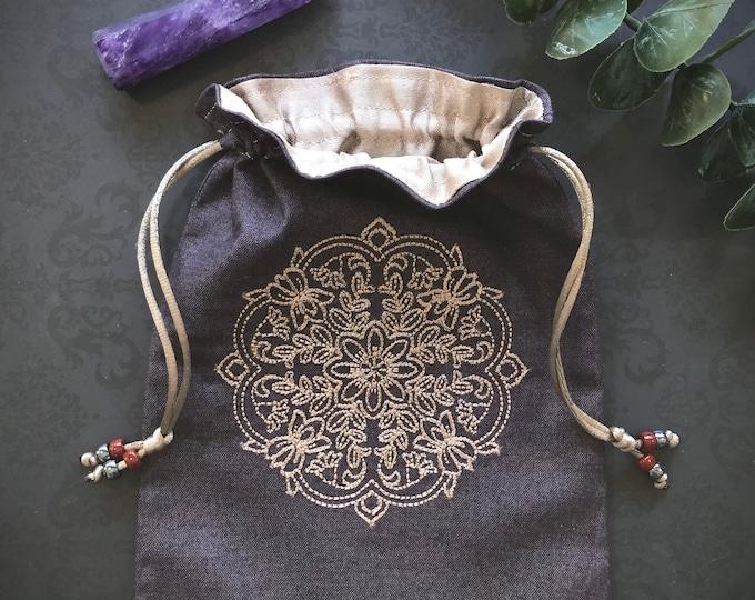 Embroidered Mandala Drawstring Bag, Handmade, Silk Lined