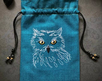 Midnight Owl Embroidered Drawstring Bag with Black and Gold Accents, Handmade, Silk Lined