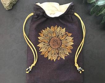 Embroidered Sunflower Drawstring Bag, Handmade, Silk Lined