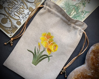 Daffodil Embroidered Drawstring Bag, Handmade, Silk Lined