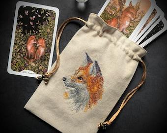Embroidered Natural, Fox, Drawstring Bag, Handmade, Silk Lined