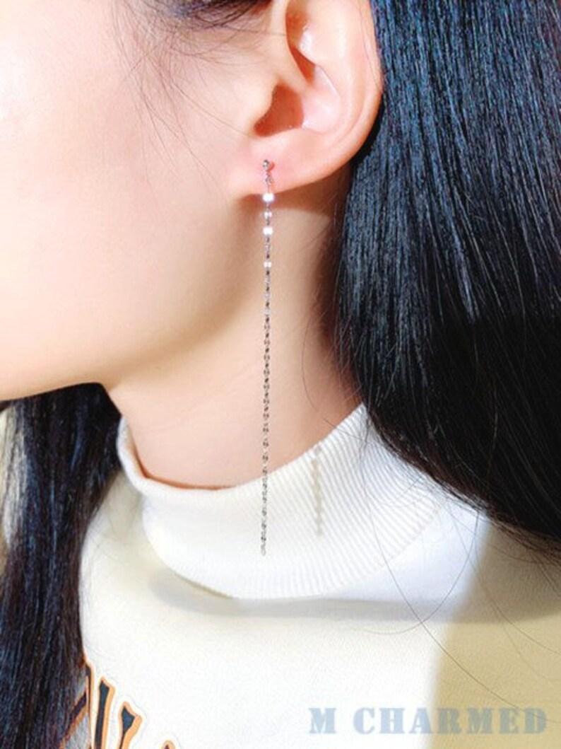 Feminine Earring Single Line Threader Earrings Sterling Silver Earrings Minimalist Earring Gold Plated Earrings Long Tassel Earring,E38