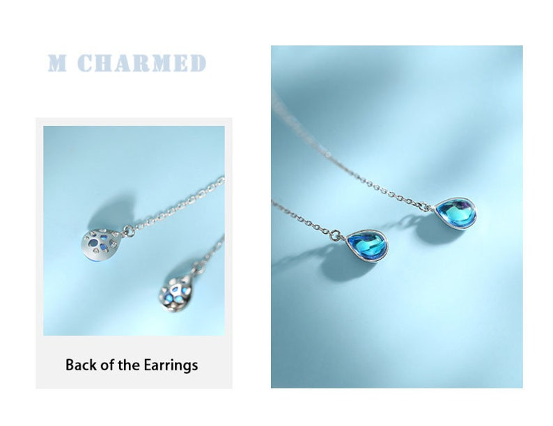 Party Earrings Blue Rain Drop Earrings Sky Blue Threader Earrings Gift for Her Sterling Silver Earrings Ocean Blue Threader Earrings