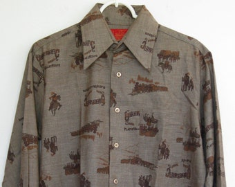 4899e504 KINGS ROAD Sears ROCKABILLY Western Shirt Brown Union Pacific Print  Deadstock Mens Small Womens Medium