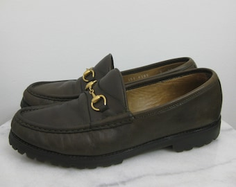 f350dc0e2c3 Brown GUCCI Brass Horsebit Loafers Vibram Soles Size 9AA