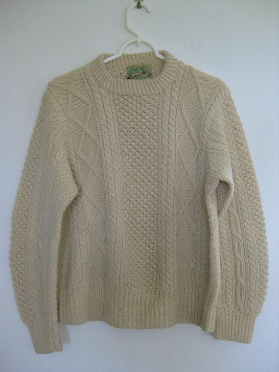 1950s Donegal Hand Knit Fishermans Irish Wool Swea