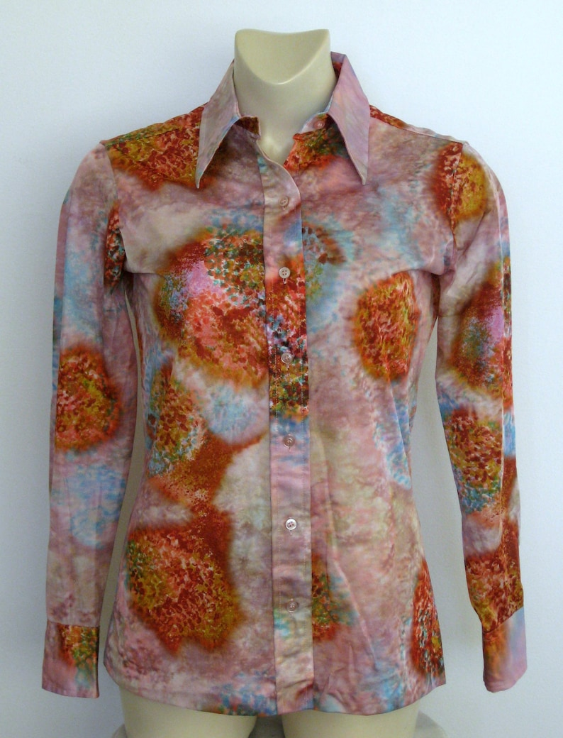 Lady Manhattan Print Long Sleeve Polyester Shirt Small Excellent