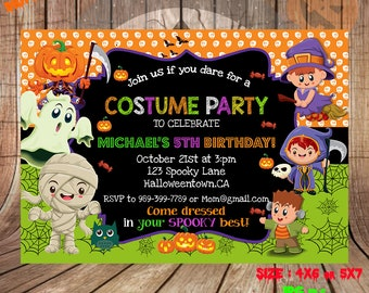 Halloween birthday invitation etsy halloween birthday invitation halloween invitation invitations photo pumpkin zombie witch halloween party horror party invitations filmwisefo