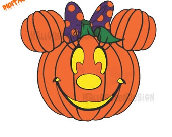 Minnie Mouse Pumpkin SVG DXF Png Vector Cut File Cricut Design Silhouette Cameo Vinyl Decal Disney Template Heat Transfer Iron On Halloween