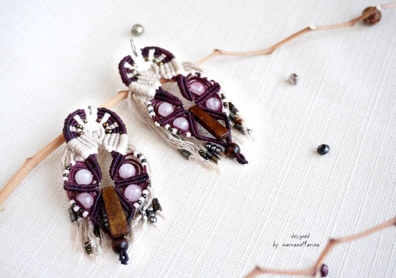 Handmade drop earrings macrame earrings rose quartz earrings elegant earrings,silver earrings fiber earrings boho jewelry,bohemian earrings