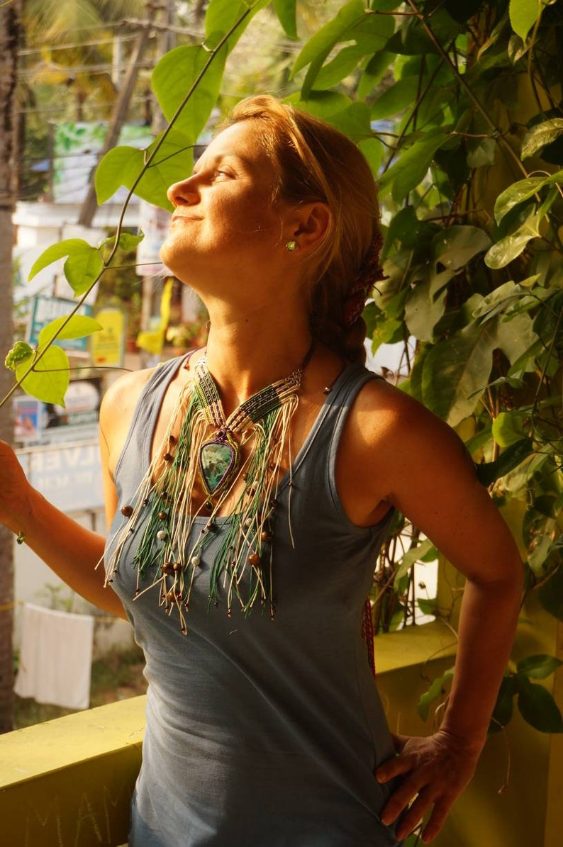 Handmade macrame necklace bohemian necklace festival jewelries chrysocolla necklace boho gemstone accessories tiger eye pendant agate