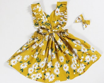 bd7fcc127 daisy baby girl dresses mustard little girls dresses first birthday dress  cake smash dress apron dress pinafore dress yellow boho dress