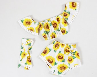 79a5a5c23b sunflower baby girl outfits, baby girl bikini beach wear baby girl  bloomers, baby girl clothes, vacation summer set, you are my sunsine, top