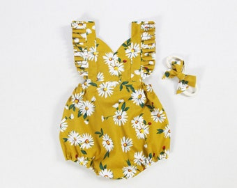 f05fd1635278 daisy baby romper baby girl romper mustard cake smash romper baby girls  clothes spring boho hippie baby girl outfits toddler girls romper