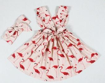 a6148e365c7d flamingo red dress little girls dresses baby girl dresses pinafore dress  baby dress apron dress flamingo birthday dress sundress for girls
