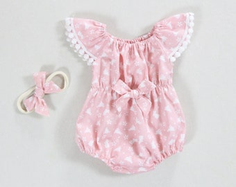 3817e7b0bcf9 pink baby girl Easter outfit baby girl bunny rompert first easter bunny  clothes birthday baby girls bunny outfit toddler romper girls onesie