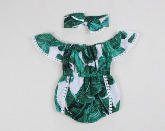 8d3ecdb936eb palm leaf baby girl romper baby girl clothes green baby girl outfits  tropical romper 1st birthday outfit Hawaiian girls romper baby bodysuit