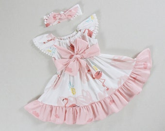 04138e99609a pink baby girl dresses little girls dresses flamingo birthday dress  pinafore dress baby dress apron dress sundress dress for girls luau baby
