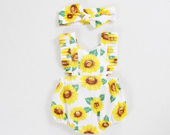 412c6dc9e01 sunflower baby girl clothes baby girl romper baby girl outfits baby romper  toddlers romper for girls romper boho romper baby girl gift