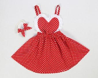 86d5e71a0 baby girl Valentine's dress red polka dot baby girl dress lace heart dress  girls dresses baby girl dresses apron pinafore sundress for girls