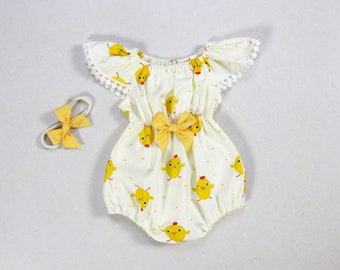 10db845e361a chick baby girl easter outfit baby girl Easter romper clothes 1st first  easter clothes yellow baby girls chick outfit toddler romper onesie