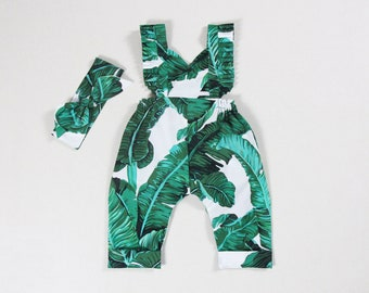 1792d056c600 tropical baby girl jumpsuit girls long pants harem pants green banana leaves  baby jumpsuit baby clothes baby girl outfit newborn coming home