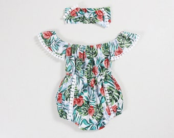 8479628e0bba luau party romper off shoulder baby girl romper baby girl outfits baby girl  clothes baby romper palm leaf rose birthday outfit girls romper