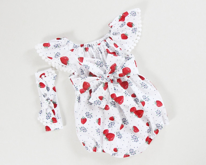 f2497ae5fc4 Strawberry baby romper baby girl romper baby girl clothes red