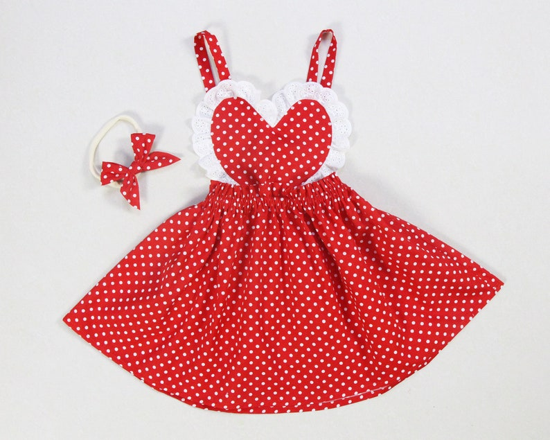 1cf4d769b Baby girl Valentine's dress red polka dot baby girl dress | Etsy