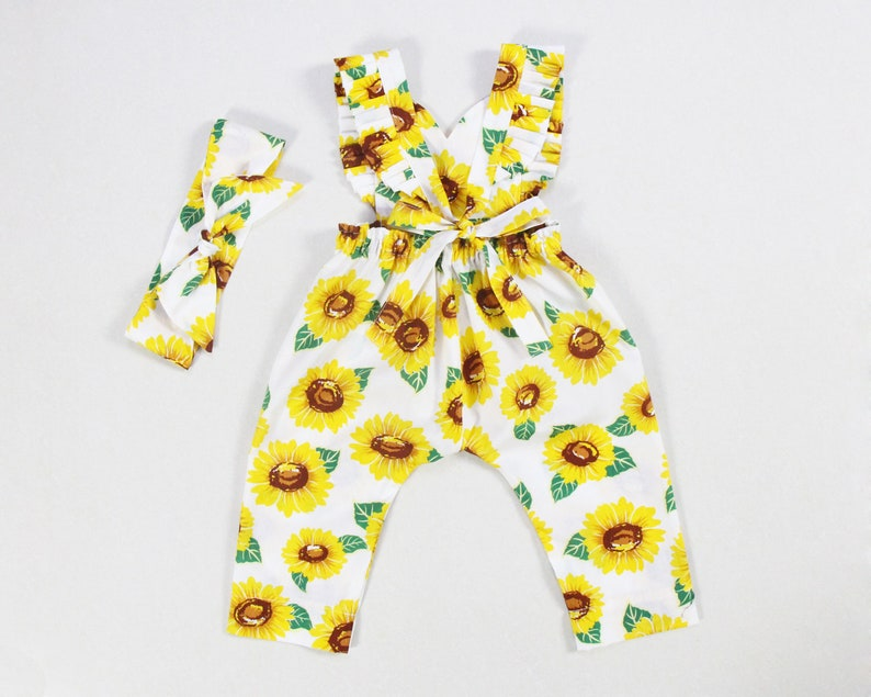 291932ace846 Sunflower baby girl jumpsuit girls long harem pants you are my