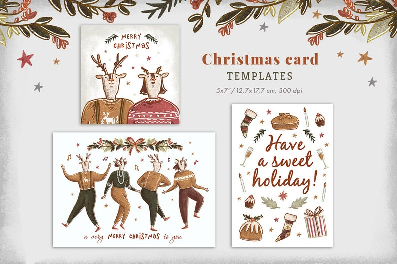 graphic relating to Printable Christmas Cards Templates identify 4 Xmas Card Templates Printable Xmas Card Xmas celebration invitation Getaway playing cards Deer Pets Industrial seek the services of