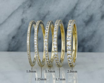 Full Eternity Band Wedding Band Diamond Band Ring Stack Ring For Women Genuine Pave Diamond Ring Statement Band Gift Ring US 3 to 15