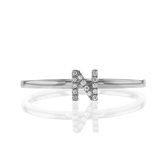 14K White Gold Diamond S Initial Letter Personalized Micro-set Single Earring Stud