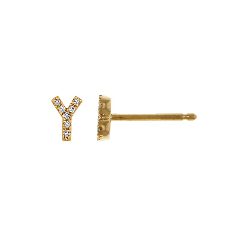 Yellow One Single Personalized Custom Jewelry or Rose Gold 14k Solid Gold /& Diamond Initial Y Monogram Earring Stud Earring in White
