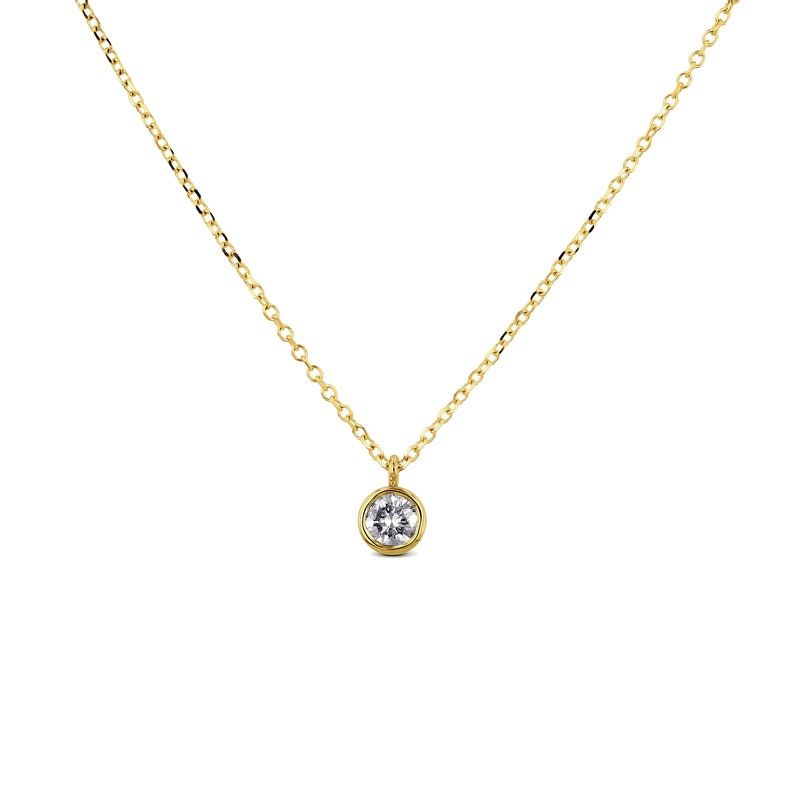 14k Gold High Quality Genuine Diamond Bezel Set Solitaire Drop Necklace White Yellow Rose Gold 14k Gold Real Diamond Solitaire Necklace