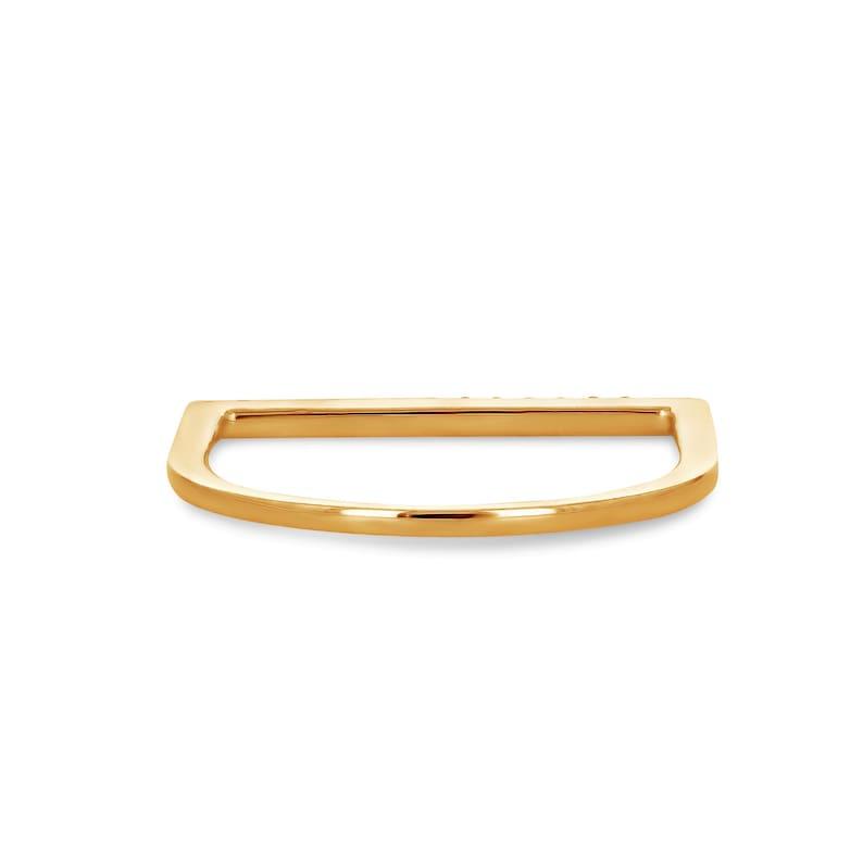 Thin Diamond Line Band Minimalist Diamond Stack Band 14k Solid Gold Natural Diamond Microset Thin Bar Ring Tri-Color Stack Bands