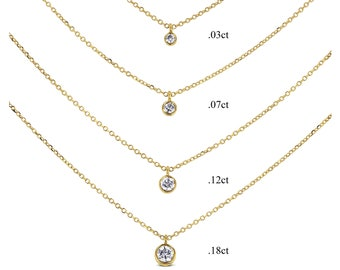 14k Gold High Quality Genuine Diamond Bezel Set Solitaire Drop Necklace | 14k Gold Real Diamond Solitaire Necklace | White Yellow Rose Gold